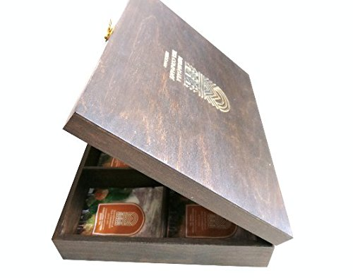 Handcrafted 4-Partition Wooden Tea Chest, Luxury Gift Box