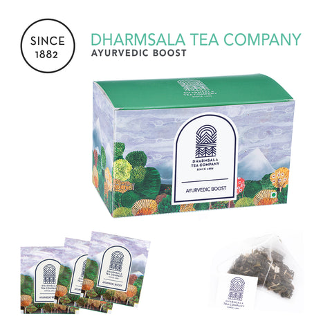 Ayurvedic Boost Teabags - Kangra Green Tea with Ashwagandha, Shankpushpi and Brahmi