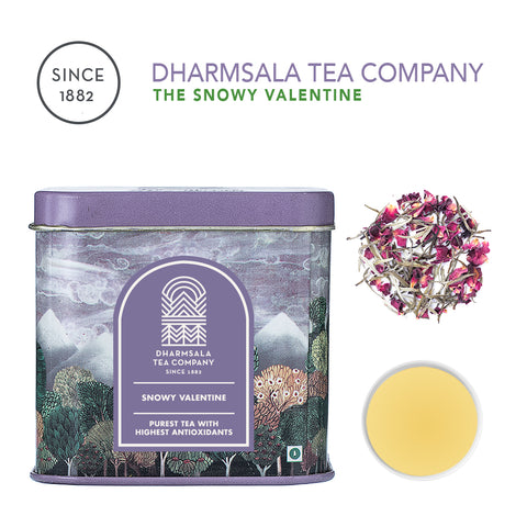 The Snowy Valentine - White Tea with Rose Petals