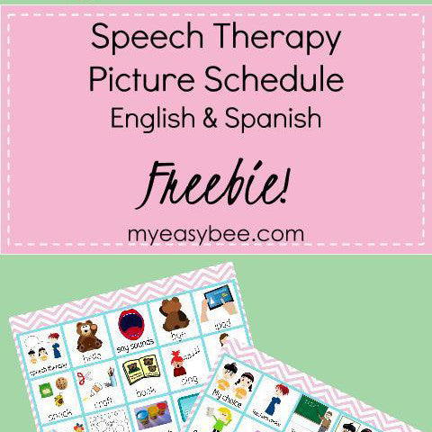 Freebie Speech Therapy Picture Schedule English & Spanish (15 Pages!!!)