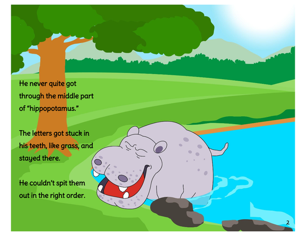 Harry Hippopotamus - A hippo who couldn't say his name. Printable Book