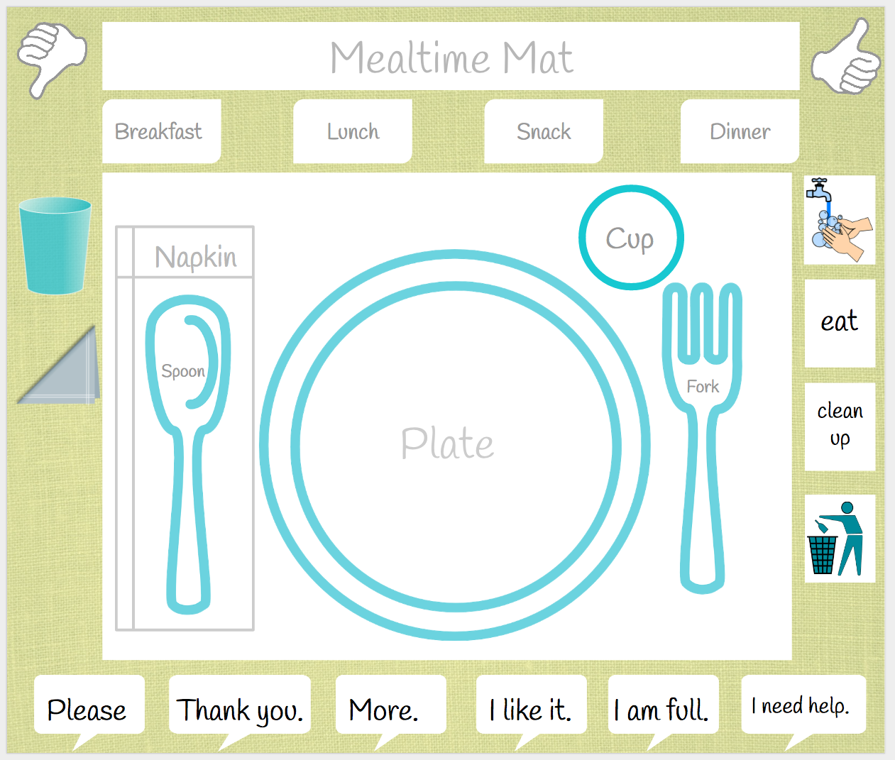 graphic relating to Printable Placemats identified as Mealtime Printable Placemat