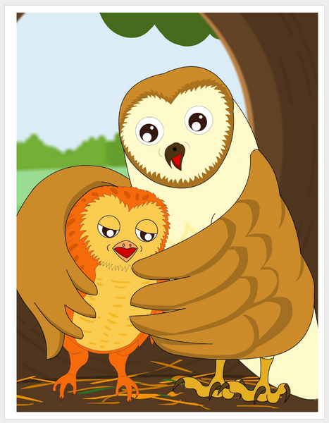Momma Owl and Hootie- A momma owl teaching her baby to speak. Printable Book