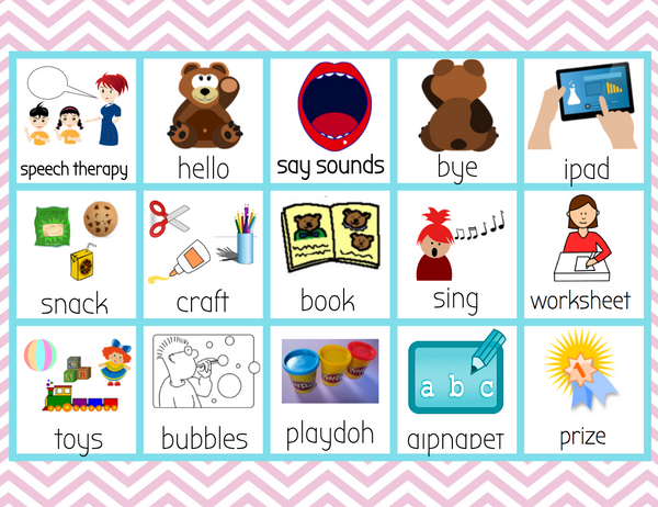 Freebie Speech Therapy Picture Schedule English & Spanish