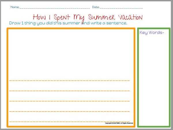 EASYBEE Summer Vacation Printable FREEBIE English & Spanish