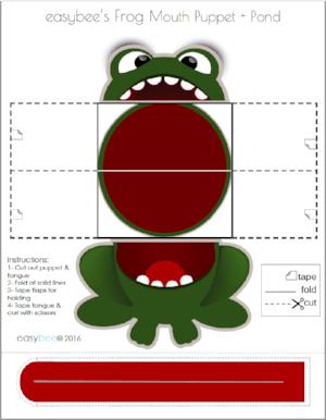 Freebie Frog Puppet with Lily Pad Pond Scene