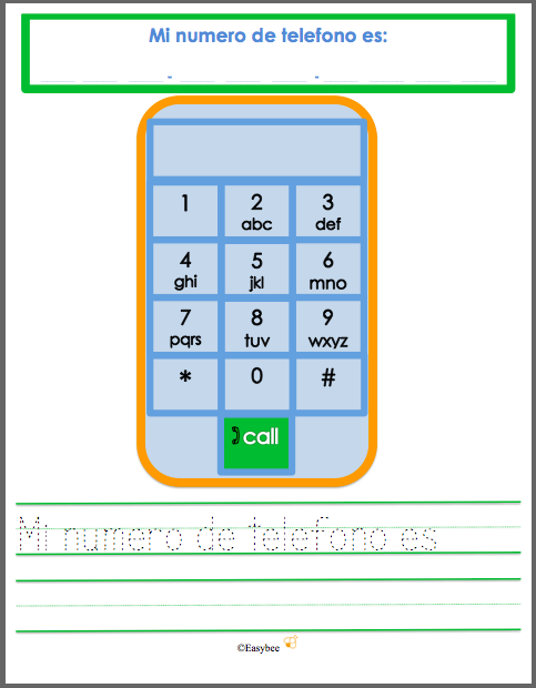 My Telephone Number Practice Sheet FREEBIE English & Spanish