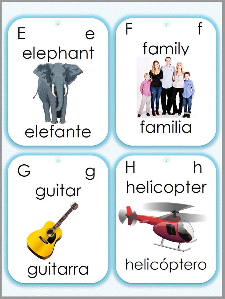 Easybee Bilingual Alphabet Printable Cards FREEBIE A-Z English & Spanish (Bilingual Cards)