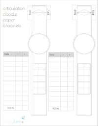 FREE Articulation Reminder Paper Bracelet - Blank Work List & Data Sheet