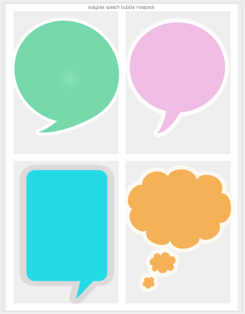 image relating to Speech Bubble Printable called Printable Notepad - vibrant speech bubble structure