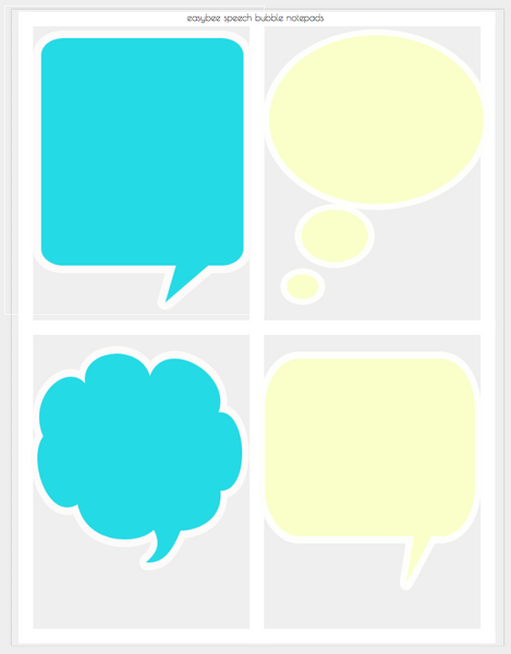 Printable Notepad - colorful speech bubble design