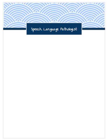 Speech Therapist Printable Notepad - scallop design