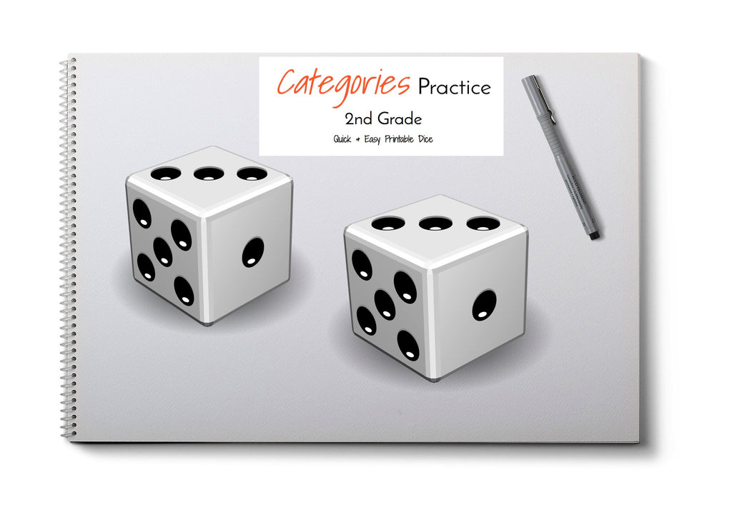 Category Print & Fold Dice- 2nd Grade