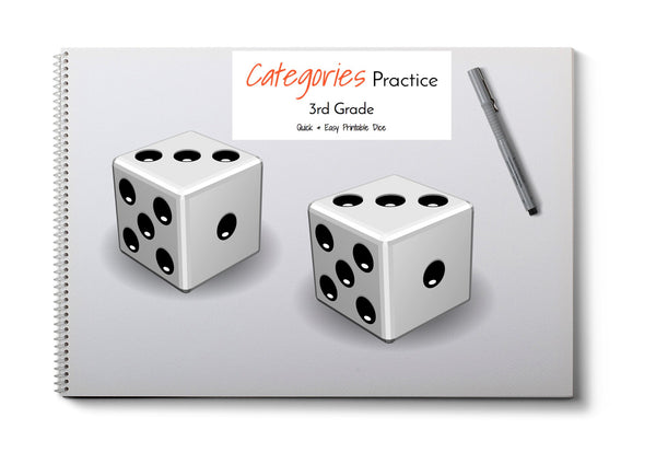 Category Print & Fold Dice- 3rd Grade