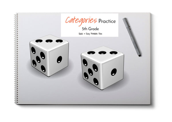 Category Print & Fold Dice- 5th Grade