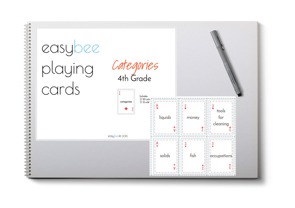 Categories Playing Card Deck- 4th Grade