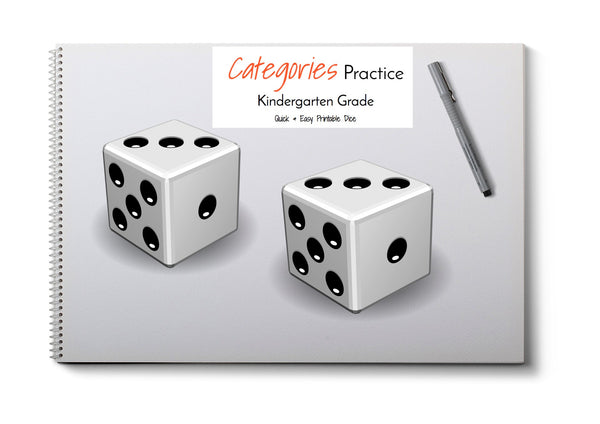 Category Print & Fold Dice- Kinder