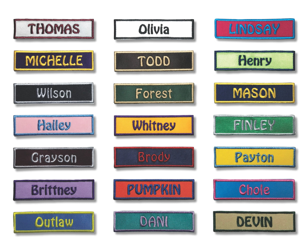 1 by 4 Custom Iron On Name Patch with Velcro Option