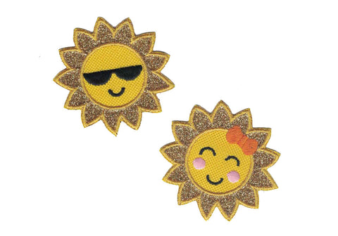 Sun Smiley Face Iron On Applique Sun Face Patch