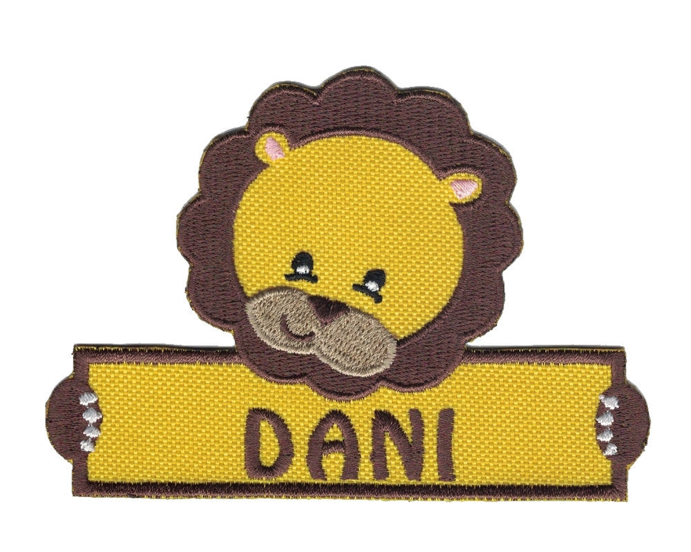 Personalized Custom Lion Iron on Applique Custom Patch Holding a Sign