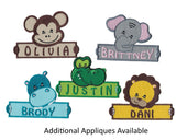 Personalized Custom Monkey Iron on Applique Custom Patch Holding a Sign