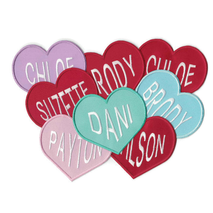 Heart Valentine Candy Name Patches Iron on Appliques