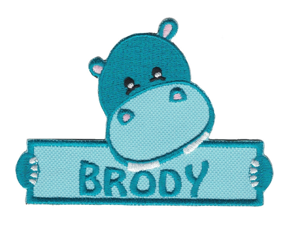 Personalized Custom Hippo Iron on Applique Custom Patch Holding a Sign