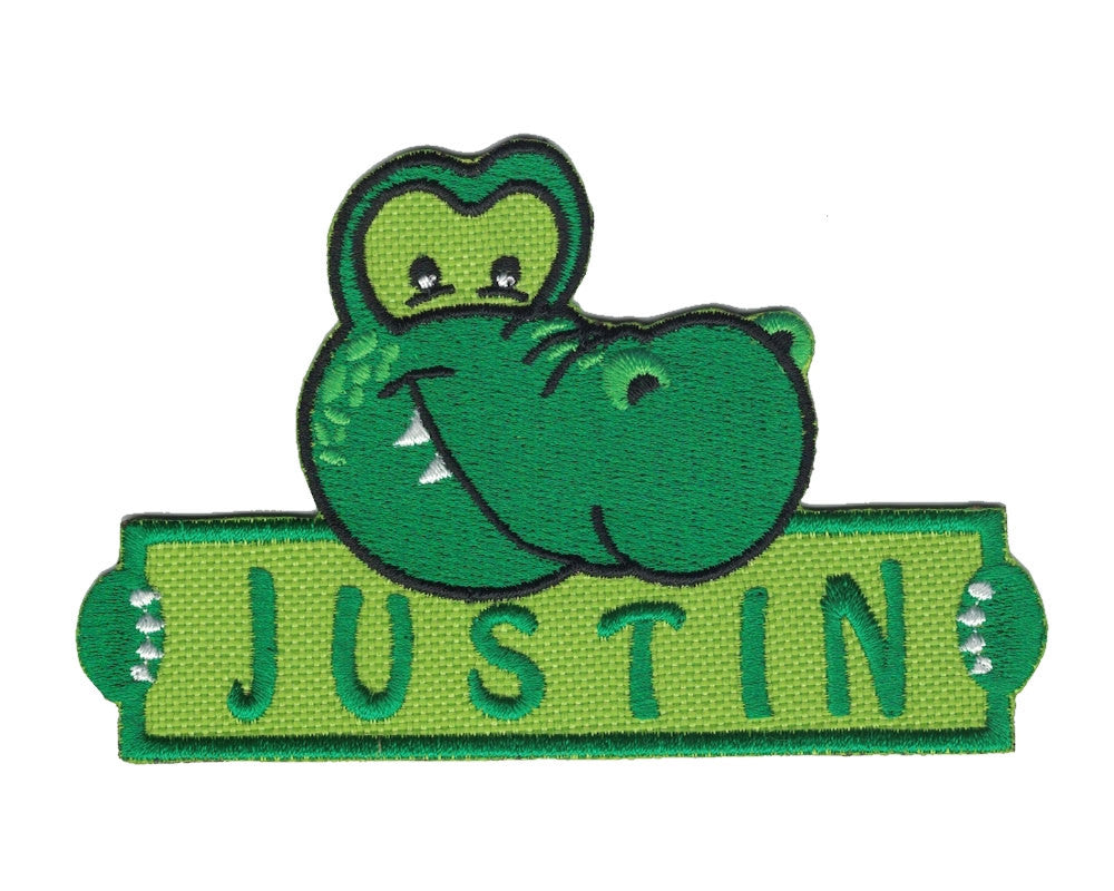 Personalized Custom Alligator Iron on Applique Custom Patch Holding a Sign