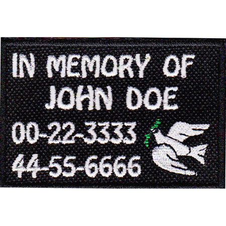 Custom Patch In Memory Patch with Dove Bull Shoals Embroidery