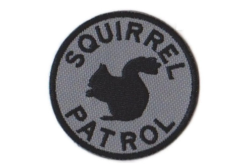 Squirrel Patrol Embroidered Patch with Velcro Option