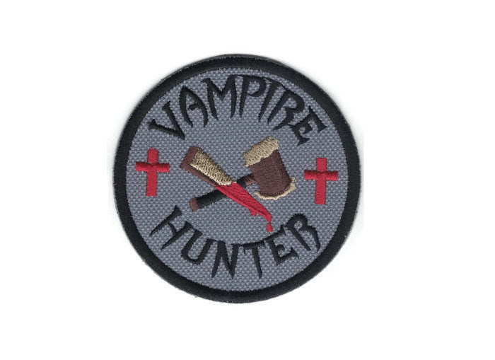 Embroidered Vampire Hunter Patch Iron On Applique with Velcro Option