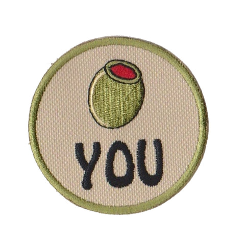 Olive You Embroidered Patch with Velcro Option
