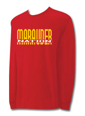 CCC Marauder Nation Split Design Long Sleeve T-shirt  -  LIMITED QUANTITIES - ONLY AVAILABLE WHILE SUPPLIES LAST