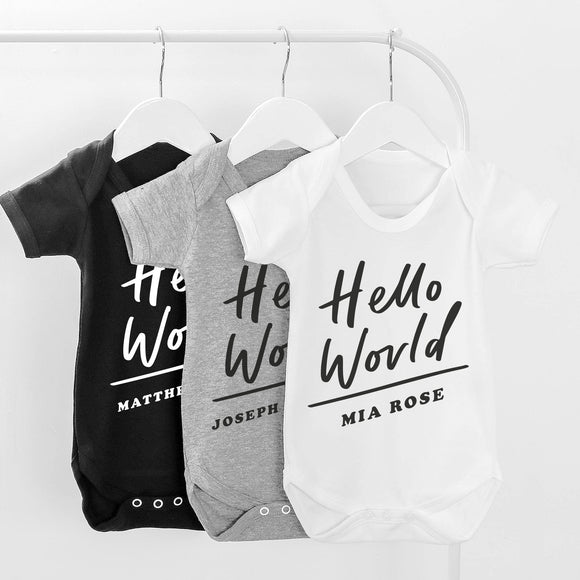 Hello World Personalised Baby grow