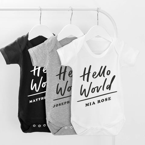 Hello World Name Baby Grow