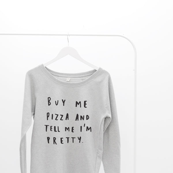 Buy Me Pizza Scoop Neck Sweater