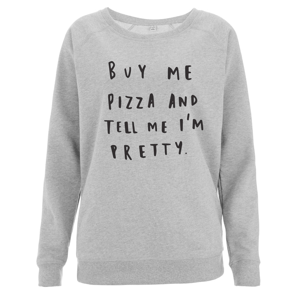 Grey Buy Me Pizza Scoop Neck Sweater