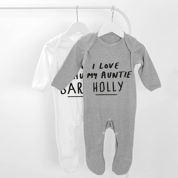 Personalised I Love My Auntie Long Sleeve Baby Grow