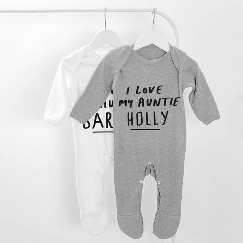 Personalised I Love My Auntie Baby Grow