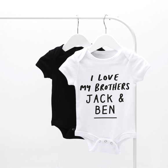 Personalised Short Sleeve I love My Brothers Baby grow