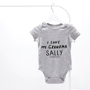 Personalised I Love My Grandma Baby Grow