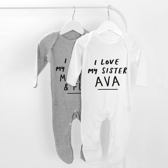 White Personalised I love My Sister Baby Grow