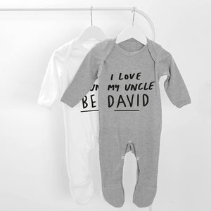 Personalised Long Sleeve I Love My Uncle Baby Grow