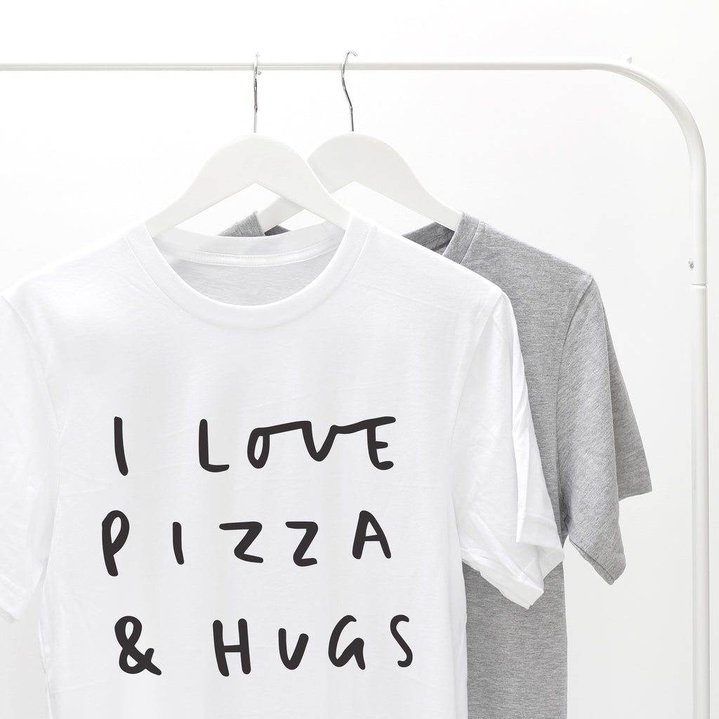 i love you letters pizza and hugs t shirt lettered typography clothing 1325