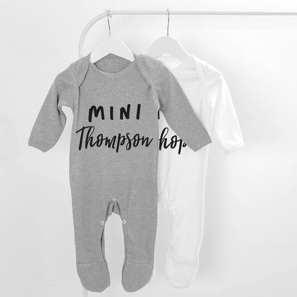 Personalised Mini Surname Long Sleeve Baby Grow