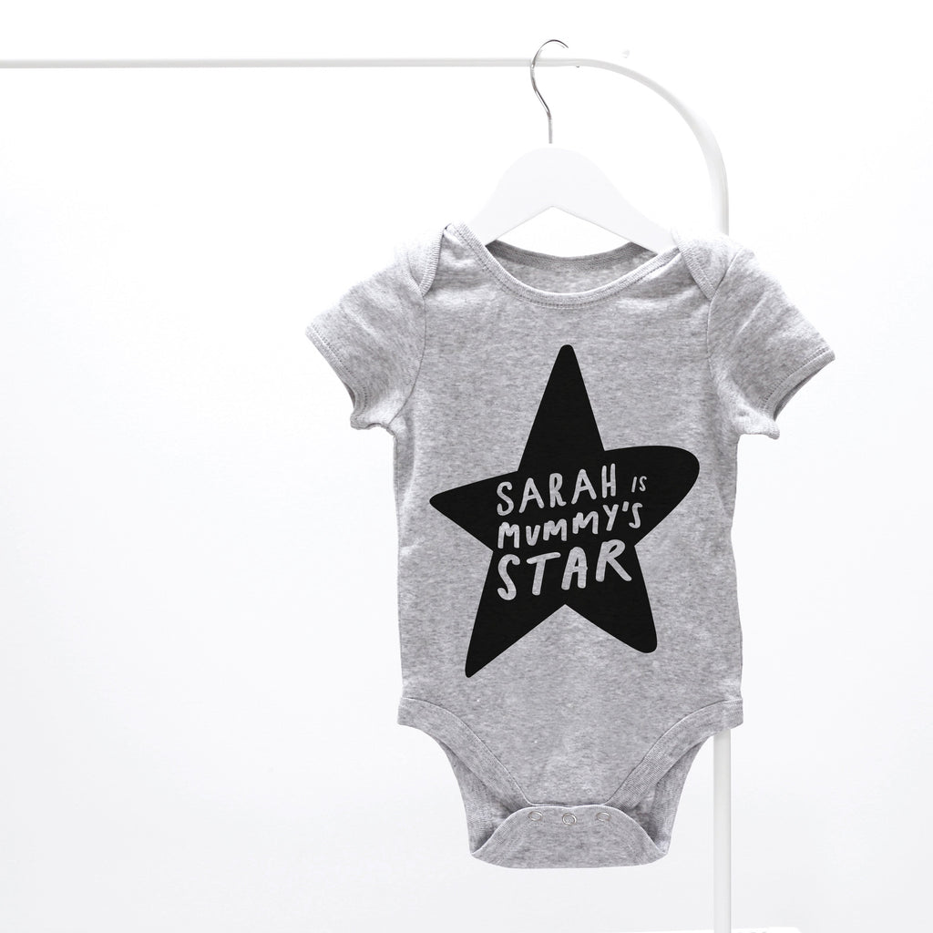 Personalised Grey Mummy's Star Baby Grow