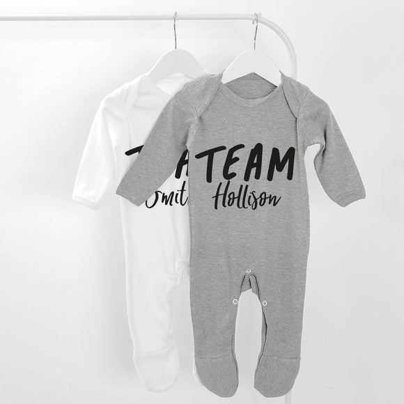 Personalised Team Name Long Sleeve Baby Grow