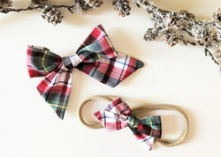 Merry Plaid Pinwheel Hair Bow