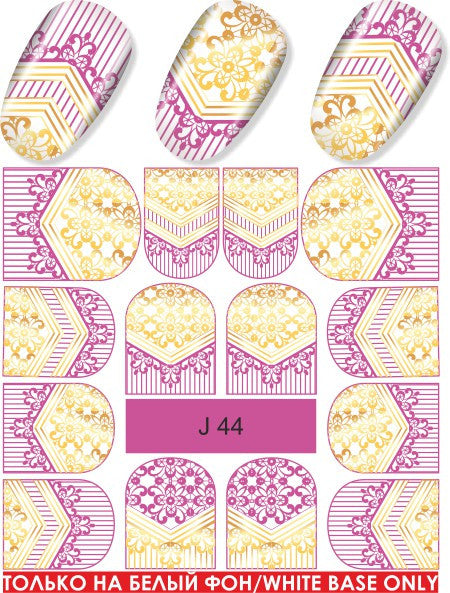Water Decal - Gold And Pink Pattern