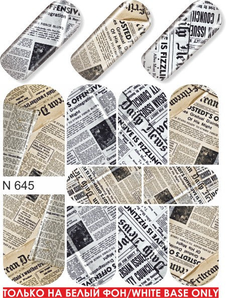 Water Decals - Newspaper Pattern